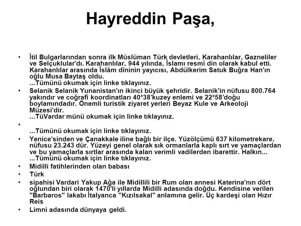 Hayreddin Paşa, İtil Bulgarlarından sonra ilk Müslüman Türk devletleri, Karahanlılar, Gazneliler ve Selçuklular'dı. Karahanlılar, 944 yılında, İslamı