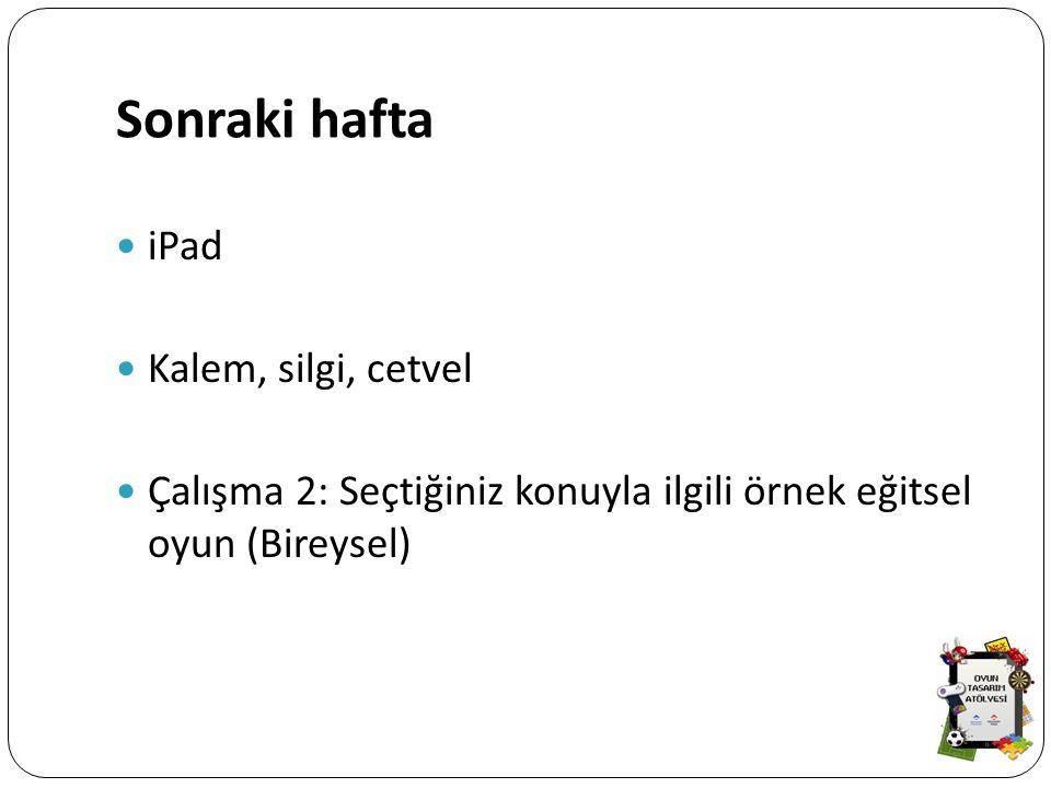 Sonraki hafta iPad Kalem, silgi, cetvel Çalışma 2: Seçtiğiniz konuyla ilgili örnek eğitsel oyun (Bireysel)