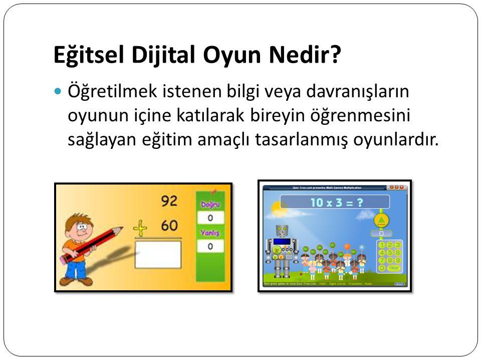 Eğitsel Dijital Oyun Nedir? Öğretilmek istenen bilgi veya davranışların oyunun içine katılarak bireyin öğrenmesini sağlayan eğitim amaçlı tasarlanmış
