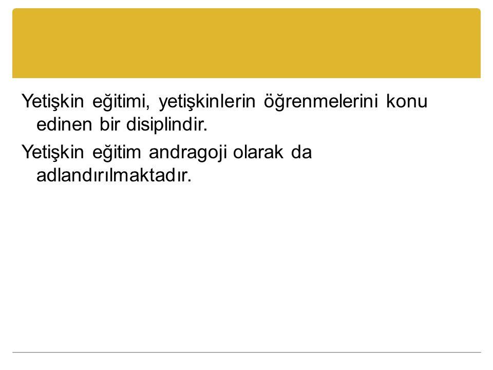 Kaynaklar Yayla, D.(2009). Türk Yetişkin Eğitimi Sisteminin Değerlendirilmesi.