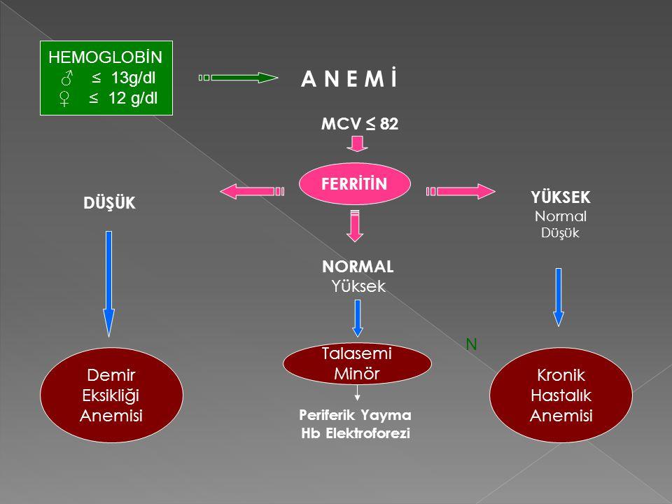 A N E M İ MCV ≤ 82 FERRİTİN DÜŞÜK Demir Eksikliği Anemisi NORMAL Yüksek YÜKSEK Normal Düşük Periferik Yayma Hb Elektroforezi N FERRİTİN Demir Eksikliğ