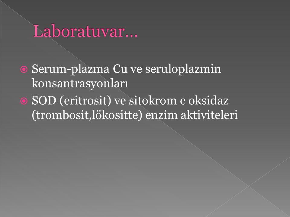  Serum-plazma Cu ve seruloplazmin konsantrasyonları  SOD (eritrosit) ve sitokrom c oksidaz (trombosit,lökositte) enzim aktiviteleri