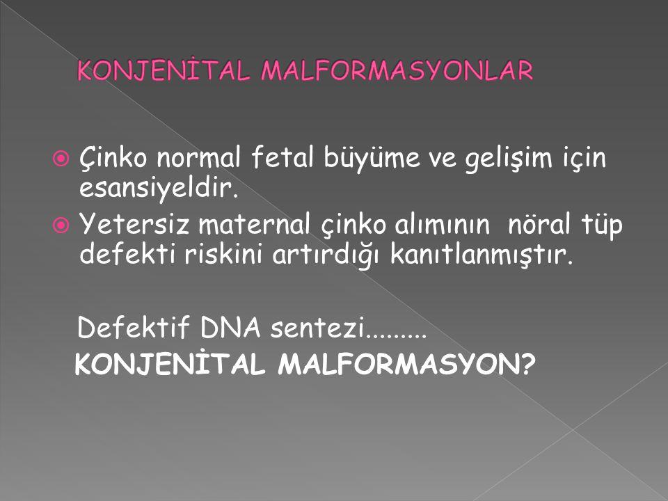  Çinko normal fetal büyüme ve gelişim için esansiyeldir.  Yetersiz maternal çinko alımının nöral tüp defekti riskini artırdığı kanıtlanmıştır. Defek