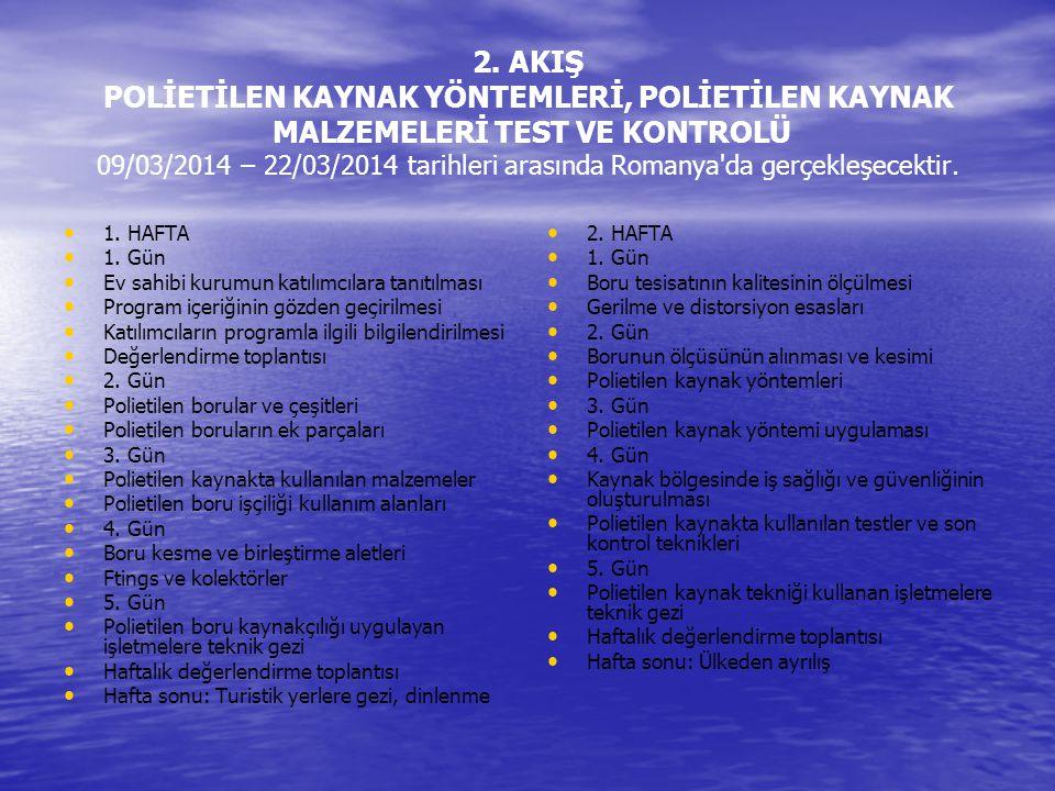 2. AKIŞ POLİETİLEN KAYNAK YÖNTEMLERİ, POLİETİLEN KAYNAK MALZEMELERİ TEST VE KONTROLÜ 09/03/2014 – 22/03/2014 tarihleri arasında Romanya'da gerçekleşec