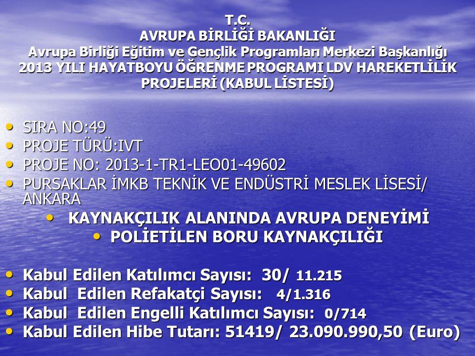 T.C. AVRUPA BİRLİĞİ BAKANLIĞI Avrupa Birliği Eğitim ve Gençlik Programları Merkezi Başkanlığı 2013 YILI HAYATBOYU ÖĞRENME PROGRAMI LDV HAREKETLİLİK PR