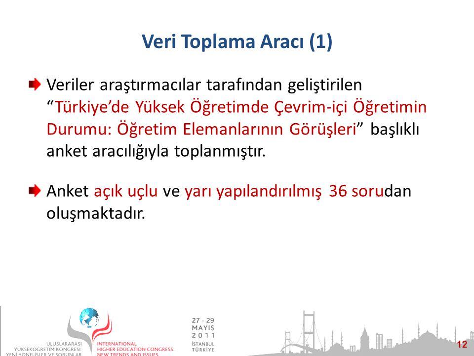 12 Veri Toplama Aracı (1) Veriler araştırmacılar tarafından geliştirilen Türkiye'de Yüksek Öğretimde Çevrim-içi Öğretimin Durumu: Öğretim Elemanlarının Görüşleri başlıklı anket aracılığıyla toplanmıştır.