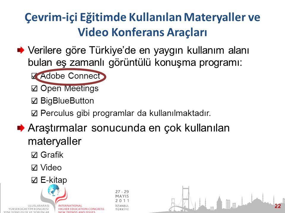 22 Çevrim-içi Eğitimde Kullanılan Materyaller ve Video Konferans Araçları Verilere göre Türkiye'de en yaygın kullanım alanı bulan eş zamanlı görüntülü konuşma programı: Adobe Connect Open Meetings BigBlueButton Perculus gibi programlar da kullanılmaktadır.
