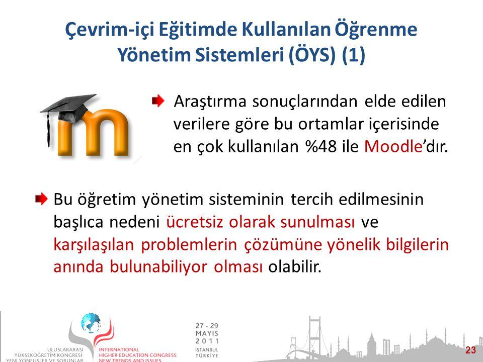 23 Çevrim-içi Eğitimde Kullanılan Öğrenme Yönetim Sistemleri (ÖYS) (1) Bu öğretim yönetim sisteminin tercih edilmesinin başlıca nedeni ücretsiz olarak sunulması ve karşılaşılan problemlerin çözümüne yönelik bilgilerin anında bulunabiliyor olması olabilir.