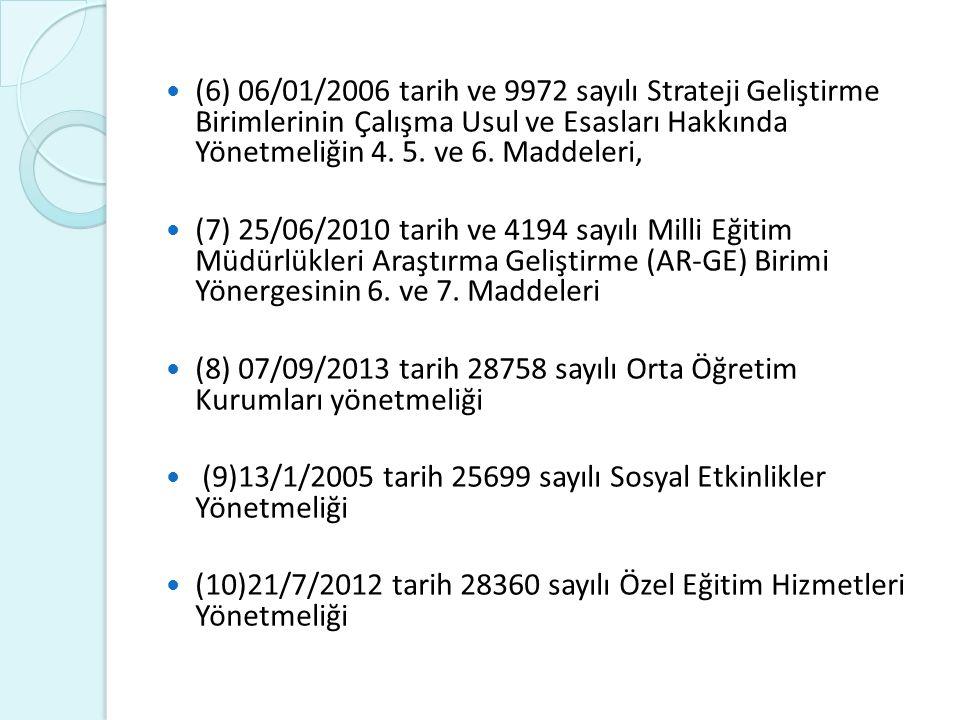 (6) 06/01/2006 tarih ve 9972 sayılı Strateji Geliştirme Birimlerinin Çalışma Usul ve Esasları Hakkında Yönetmeliğin 4. 5. ve 6. Maddeleri, (7) 25/06/2