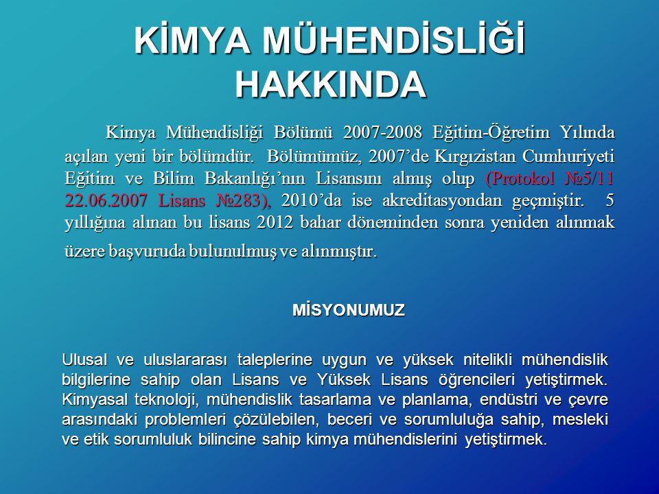 KİMYA MÜHENDİSLİĞİ HAKKINDA Kimya Mühendisliği Bölümü 2007-2008 Eğitim-Öğretim Yılında açılan yeni bir bölümdür. Bölümümüz, 2007'de Kırgızistan Cumhur