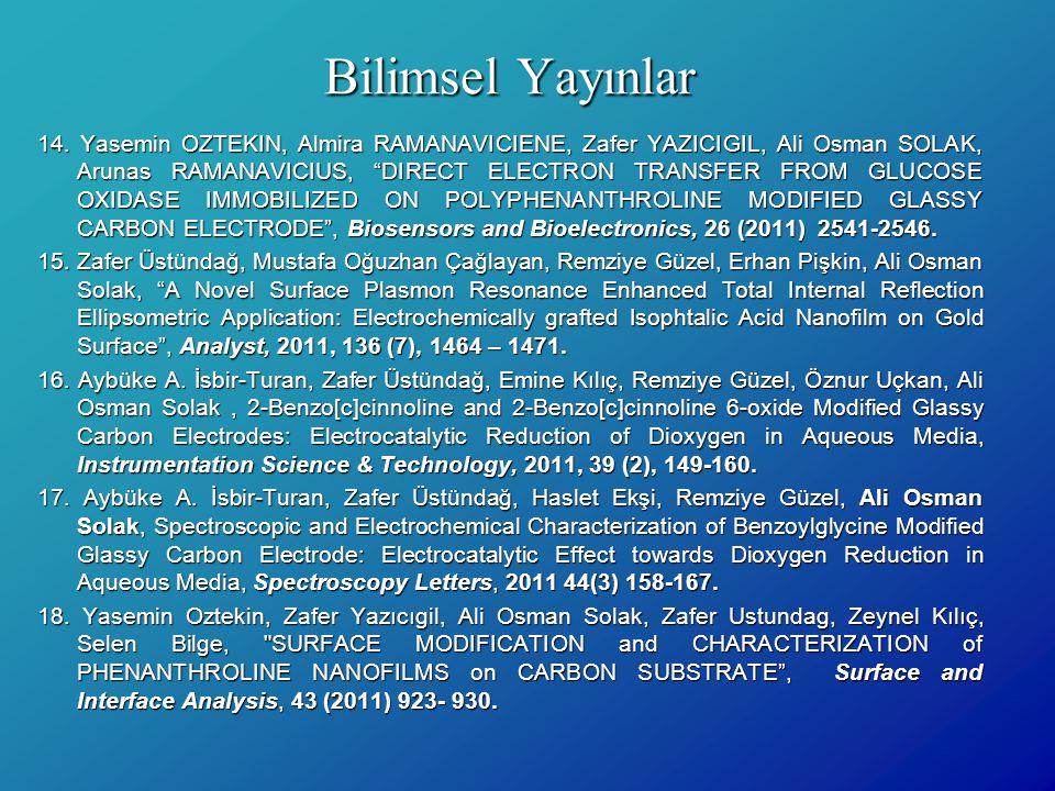 """Bilimsel Yayınlar 14. Yasemin OZTEKIN, Almira RAMANAVICIENE, Zafer YAZICIGIL, Ali Osman SOLAK, Arunas RAMANAVICIUS, """"DIRECT ELECTRON TRANSFER FROM GLU"""