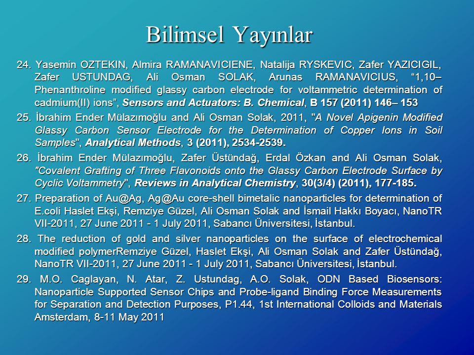 Bilimsel Yayınlar 24. Yasemin OZTEKIN, Almira RAMANAVICIENE, Natalija RYSKEVIC, Zafer YAZICIGIL, Zafer USTUNDAG, Ali Osman SOLAK, Arunas RAMANAVICIUS,