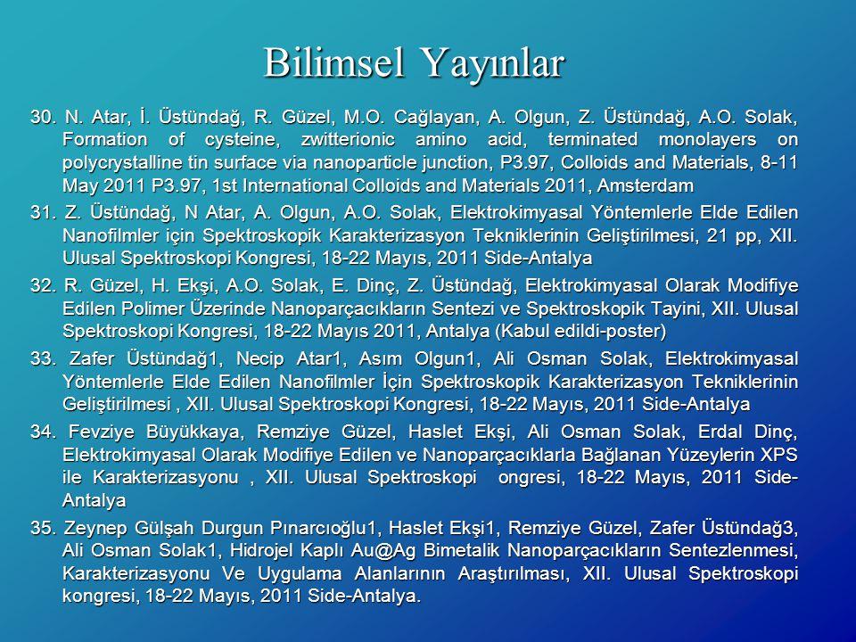 Bilimsel Yayınlar 30. N. Atar, İ. Üstündağ, R. Güzel, M.O. Cağlayan, A. Olgun, Z. Üstündağ, A.O. Solak, Formation of cysteine, zwitterionic amino acid