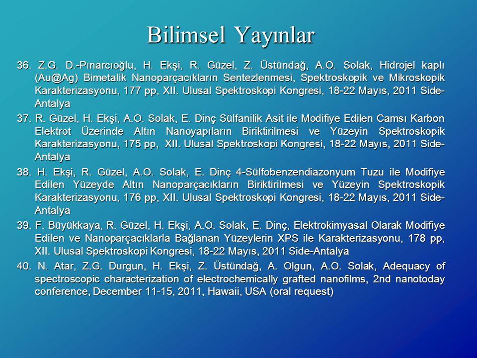 Bilimsel Yayınlar 36. Z.G. D.-Pınarcıoğlu, H. Ekşi, R. Güzel, Z. Üstündağ, A.O. Solak, Hidrojel kaplı (Au@Ag) Bimetalik Nanoparçacıkların Sentezlenmes