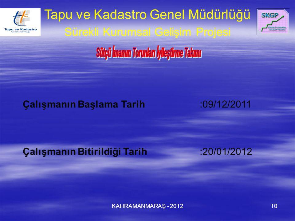 KAHRAMANMARAŞ - 201210 Çalışmanın Başlama Tarih:09/12/2011 Çalışmanın Bitirildiği Tarih:20/01/2012 Tapu ve Kadastro Genel Müdürlüğü Sürekli Kurumsal Gelişim Projesi