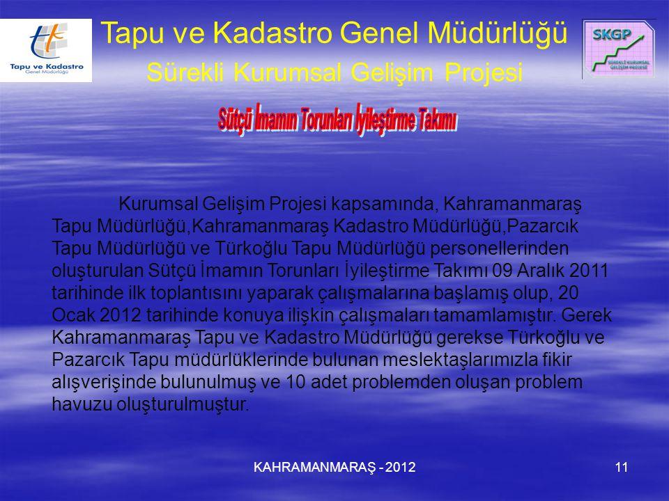 KAHRAMANMARAŞ - 201211 Kurumsal Gelişim Projesi kapsamında, Kahramanmaraş Tapu Müdürlüğü,Kahramanmaraş Kadastro Müdürlüğü,Pazarcık Tapu Müdürlüğü ve Türkoğlu Tapu Müdürlüğü personellerinden oluşturulan Sütçü İmamın Torunları İyileştirme Takımı 09 Aralık 2011 tarihinde ilk toplantısını yaparak çalışmalarına başlamış olup, 20 Ocak 2012 tarihinde konuya ilişkin çalışmaları tamamlamıştır.