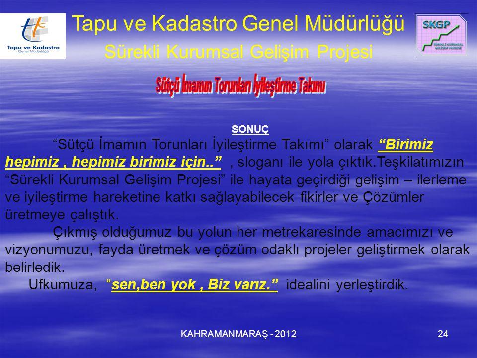 """KAHRAMANMARAŞ - 201224 Tapu ve Kadastro Genel Müdürlüğü Sürekli Kurumsal Gelişim Projesi SONUÇ """"Sütçü İmamın Torunları İyileştirme Takımı"""" olarak """"Bir"""