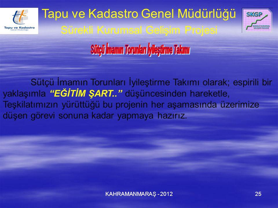 KAHRAMANMARAŞ - 201225 Tapu ve Kadastro Genel Müdürlüğü Sürekli Kurumsal Gelişim Projesi Sütçü İmamın Torunları İyileştirme Takımı olarak; espirili bi