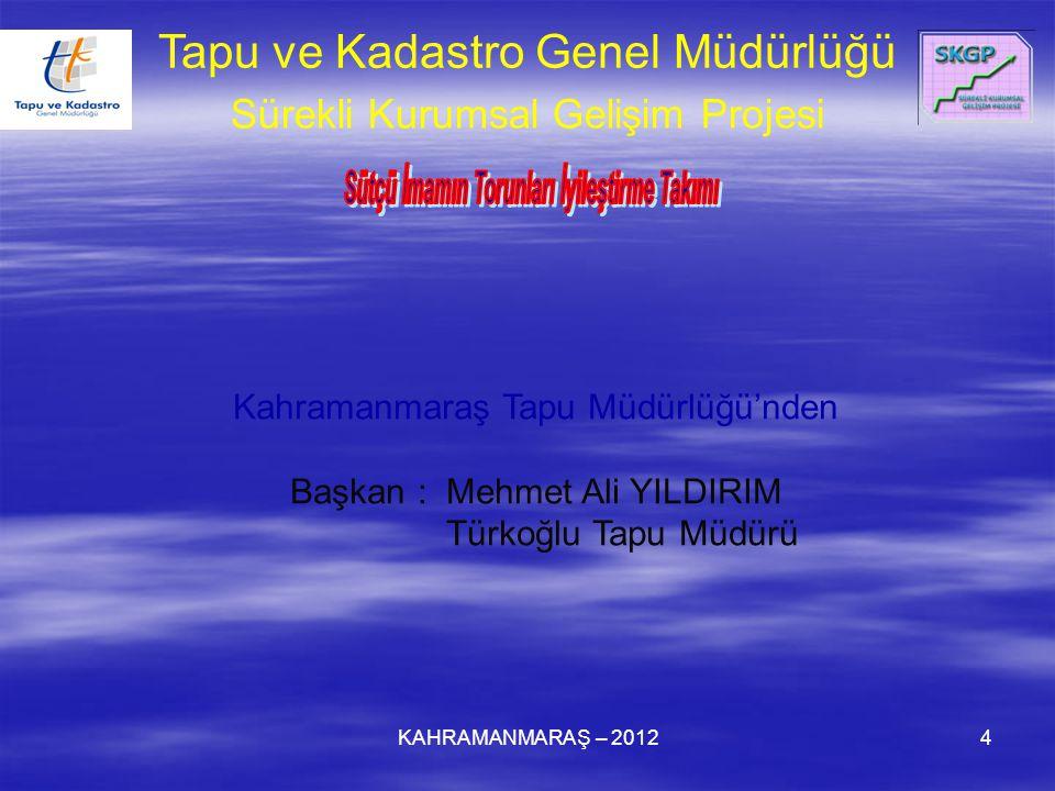 KAHRAMANMARAŞ – 20124 Kahramanmaraş Tapu Müdürlüğü'nden Başkan : Mehmet Ali YILDIRIM Türkoğlu Tapu Müdürü Tapu ve Kadastro Genel Müdürlüğü Sürekli Kurumsal Gelişim Projesi