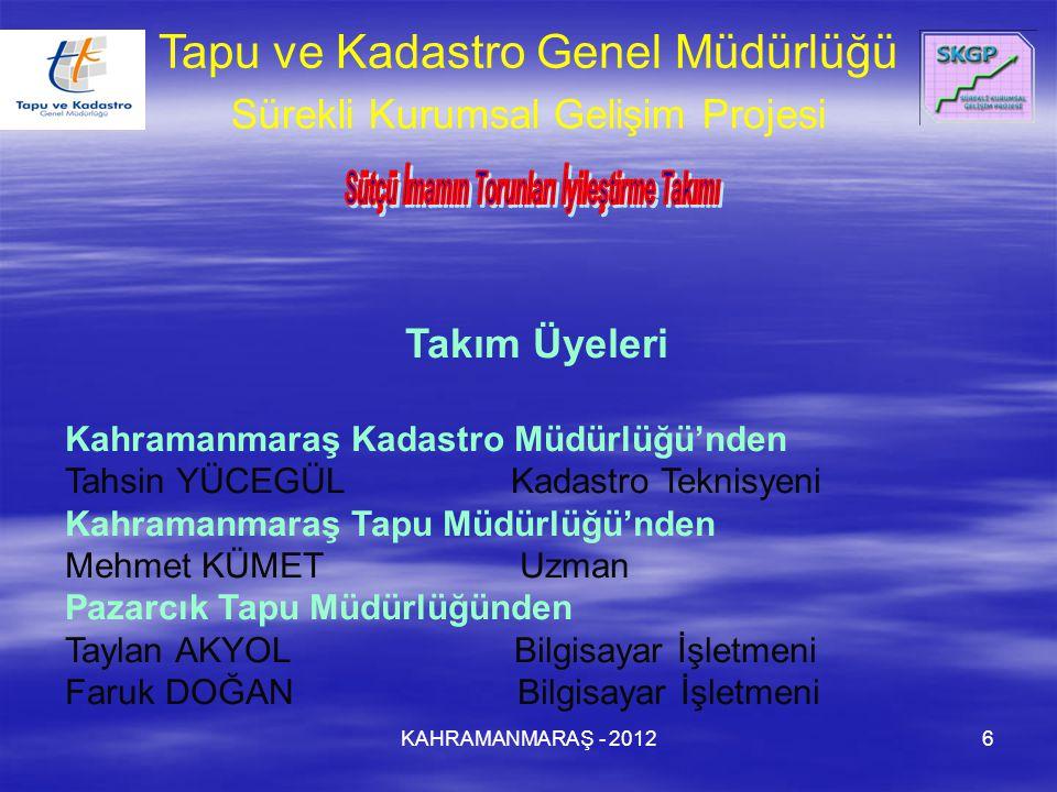 KAHRAMANMARAŞ - 20126 Takım Üyeleri Kahramanmaraş Kadastro Müdürlüğü'nden Tahsin YÜCEGÜL Kadastro Teknisyeni Kahramanmaraş Tapu Müdürlüğü'nden Mehmet
