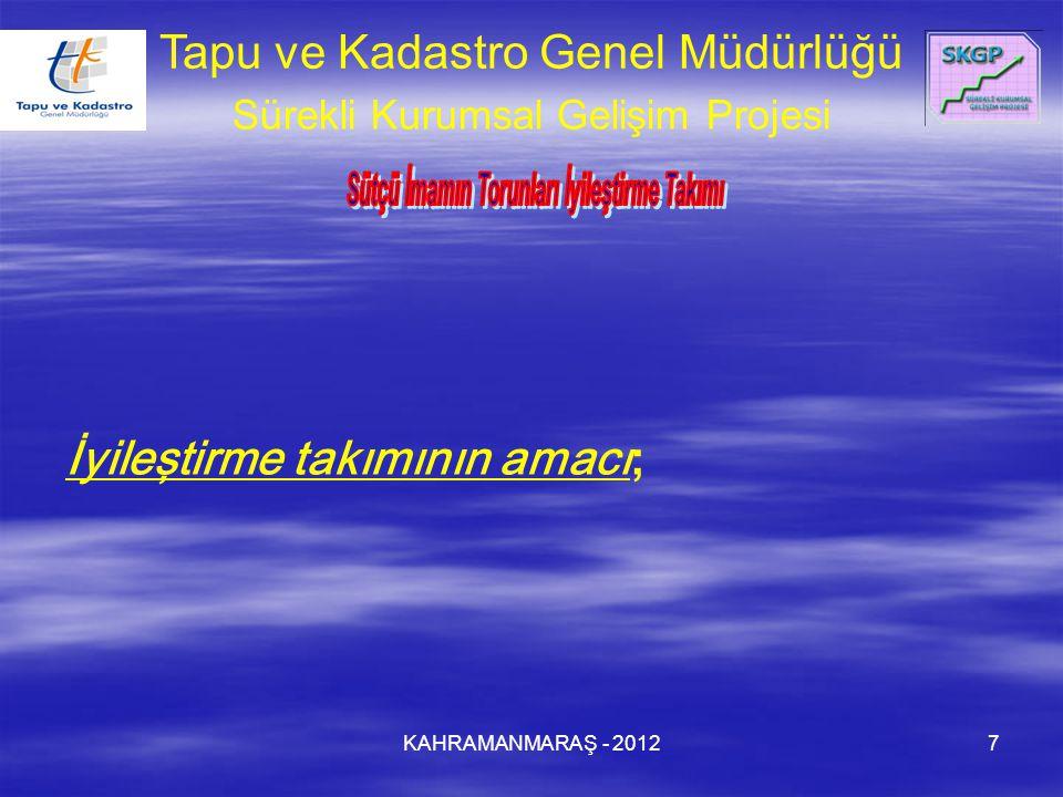 KAHRAMANMARAŞ - 20127 Tapu ve Kadastro Genel Müdürlüğü Sürekli Kurumsal Gelişim Projesi İyileştirme takımının amacı;