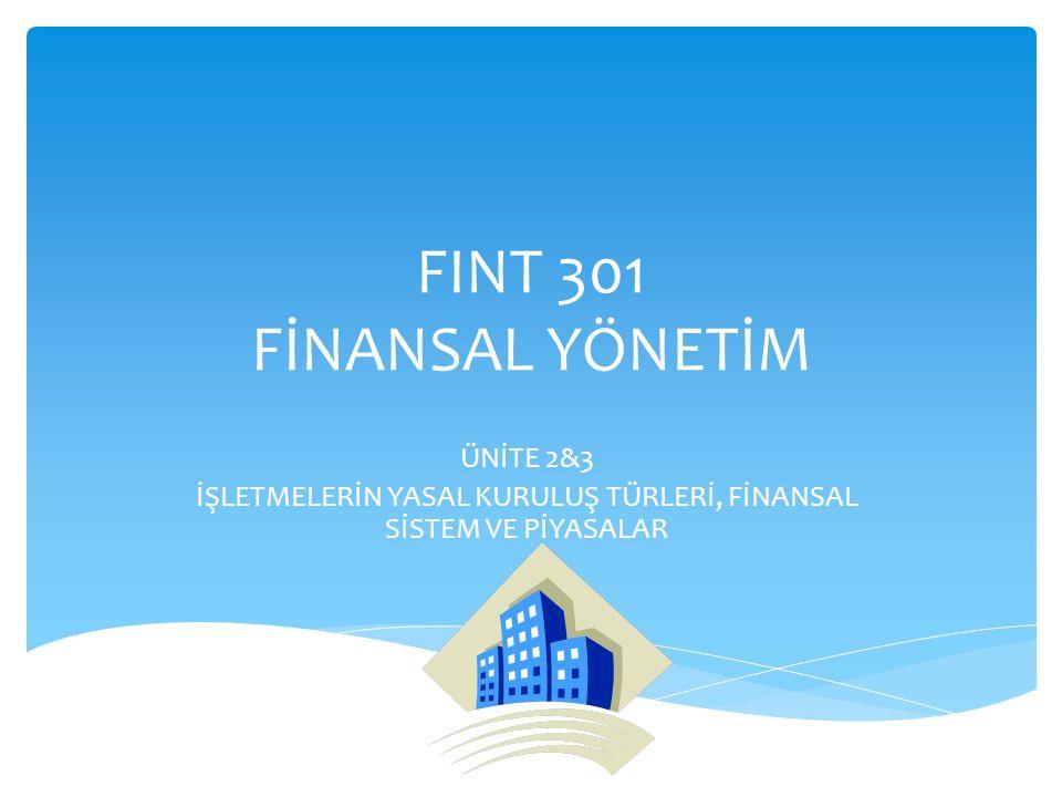  İşletme Türleri  Finansal Sistem  Finansal Piyasalar  Finansal Araçlar  Finansal Kurumlar  Menkul Kıymetler Borsalarının Ekonomik İşlevleri  Faiz Oranları İÇİNDEKİLER