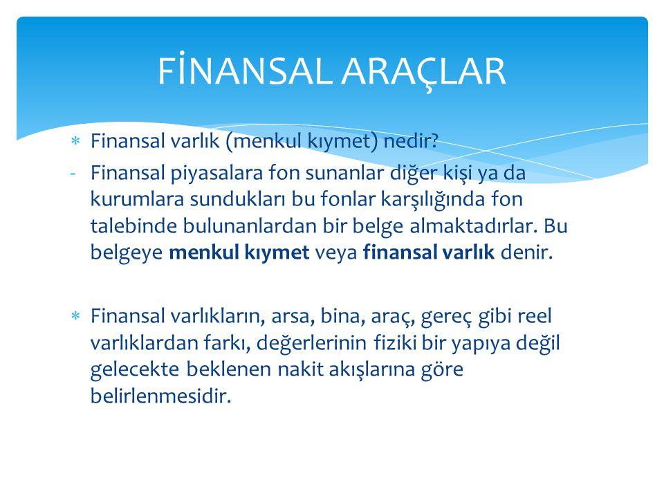  Finansal varlık (menkul kıymet) nedir.