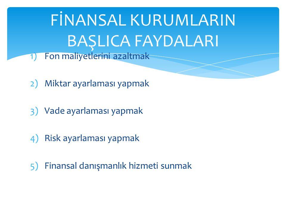 1)Fon maliyetlerini azaltmak 2)Miktar ayarlaması yapmak 3)Vade ayarlaması yapmak 4)Risk ayarlaması yapmak 5)Finansal danışmanlık hizmeti sunmak FİNANSAL KURUMLARIN BAŞLICA FAYDALARI
