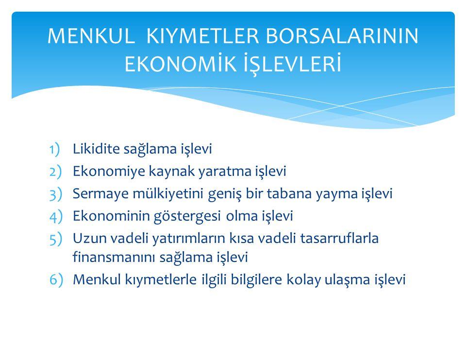 1)Likidite sağlama işlevi 2)Ekonomiye kaynak yaratma işlevi 3)Sermaye mülkiyetini geniş bir tabana yayma işlevi 4)Ekonominin göstergesi olma işlevi 5)Uzun vadeli yatırımların kısa vadeli tasarruflarla finansmanını sağlama işlevi 6)Menkul kıymetlerle ilgili bilgilere kolay ulaşma işlevi MENKUL KIYMETLER BORSALARININ EKONOMİK İŞLEVLERİ