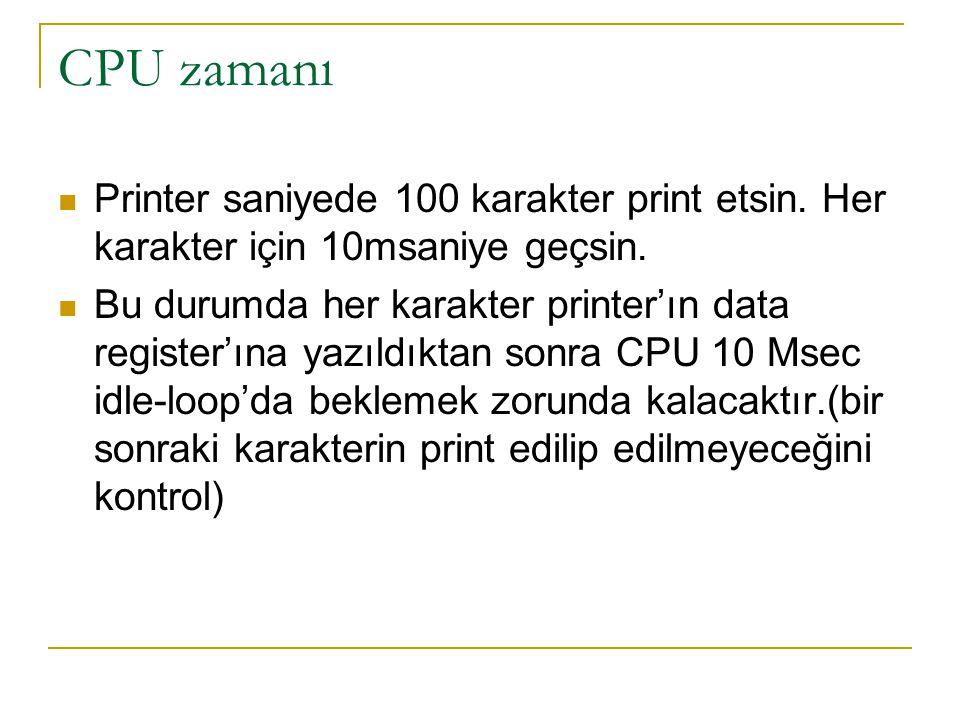 CPU zamanı Printer saniyede 100 karakter print etsin. Her karakter için 10msaniye geçsin. Bu durumda her karakter printer'ın data register'ına yazıldı