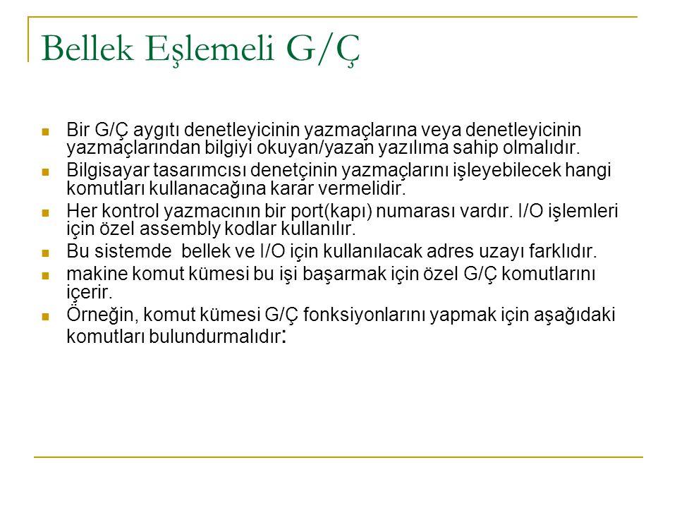 Bellek Eşlemeli G/Ç Bir G/Ç aygıtı denetleyicinin yazmaçlarına veya denetleyicinin yazmaçlarından bilgiyi okuyan/yazan yazılıma sahip olmalıdır. Bilgi