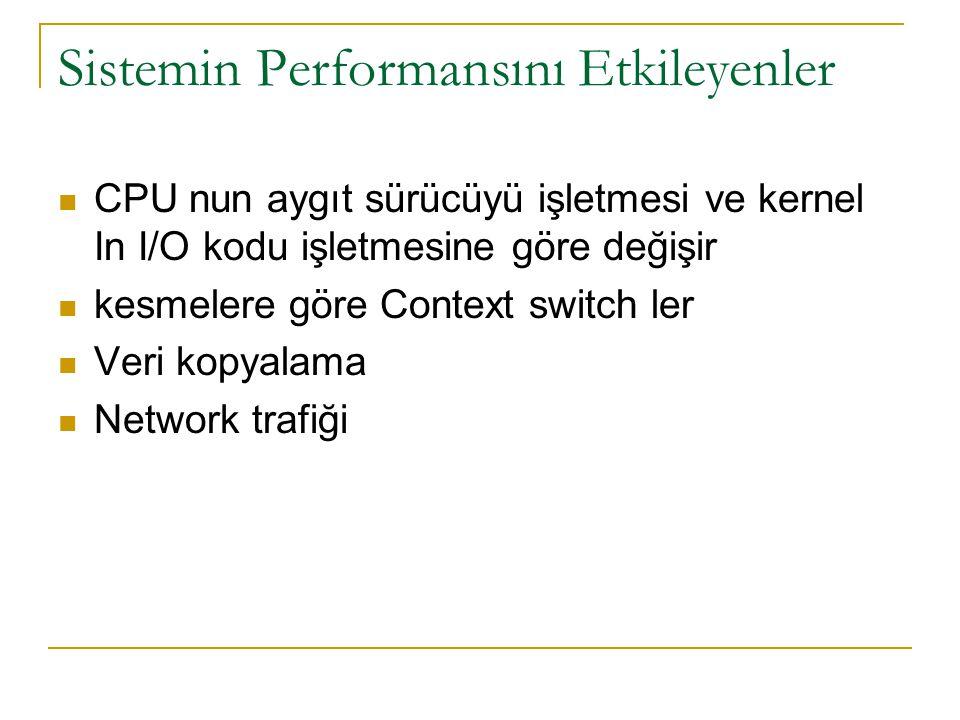 Sistemin Performansını Etkileyenler CPU nun aygıt sürücüyü işletmesi ve kernel In I/O kodu işletmesine göre değişir kesmelere göre Context switch ler