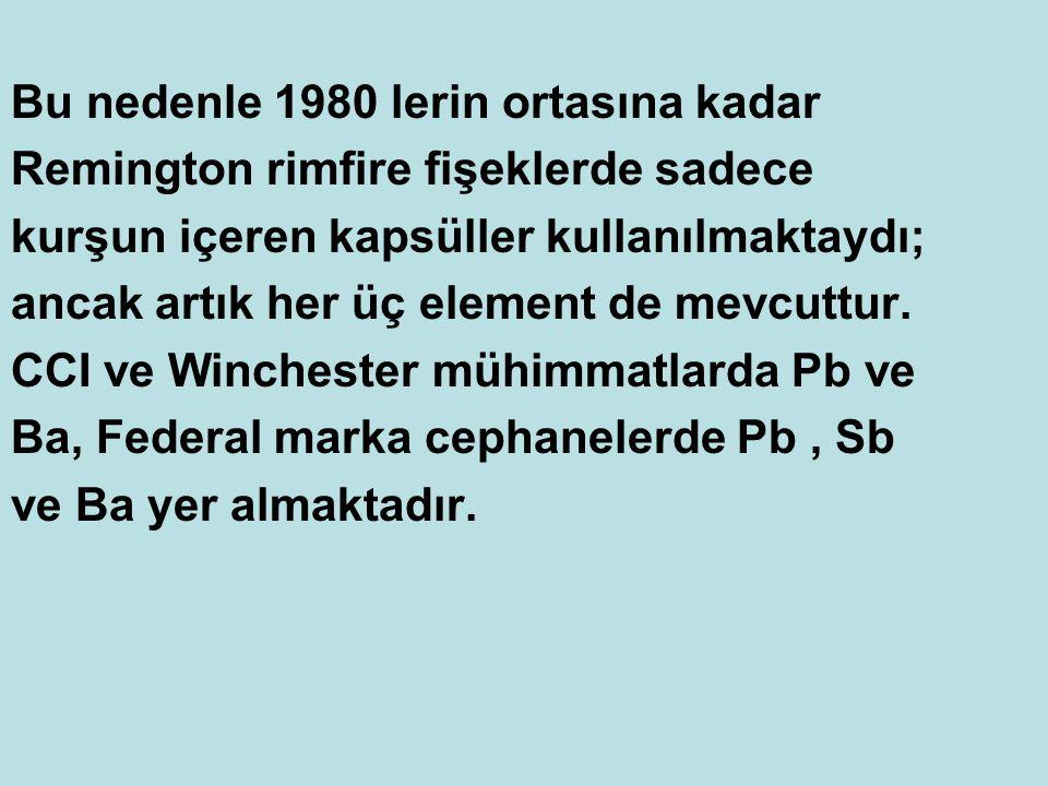 Bu nedenle 1980 lerin ortasına kadar Remington rimfire fişeklerde sadece kurşun içeren kapsüller kullanılmaktaydı; ancak artık her üç element de mevcu