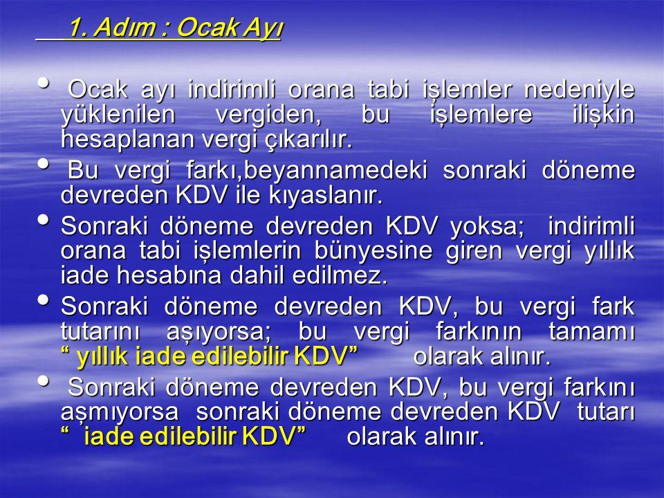 b- İade Edilecek KDV'nin Hesaplanması b- İade Edilecek KDV'nin Hesaplanması  Mükelleflerin iadeye hak kazandıkları katma değer vergisinin hesaplanmas