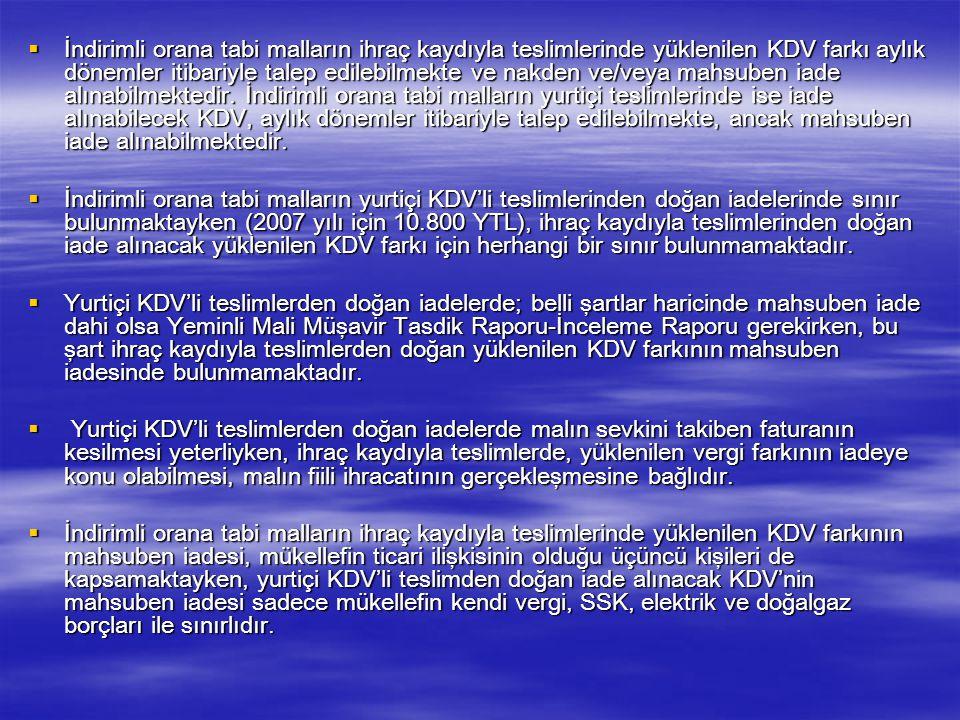  XIV-İHRAÇ KAYDIYLA YAPILAN İNDİRİMLİ ORANA TABİ İŞLEMLERLE İLGİLİ İADE TALEPLERİ (KDV/11-c)  İndirimli orana tabi mallar, KDV tahsil edilmeksizin i