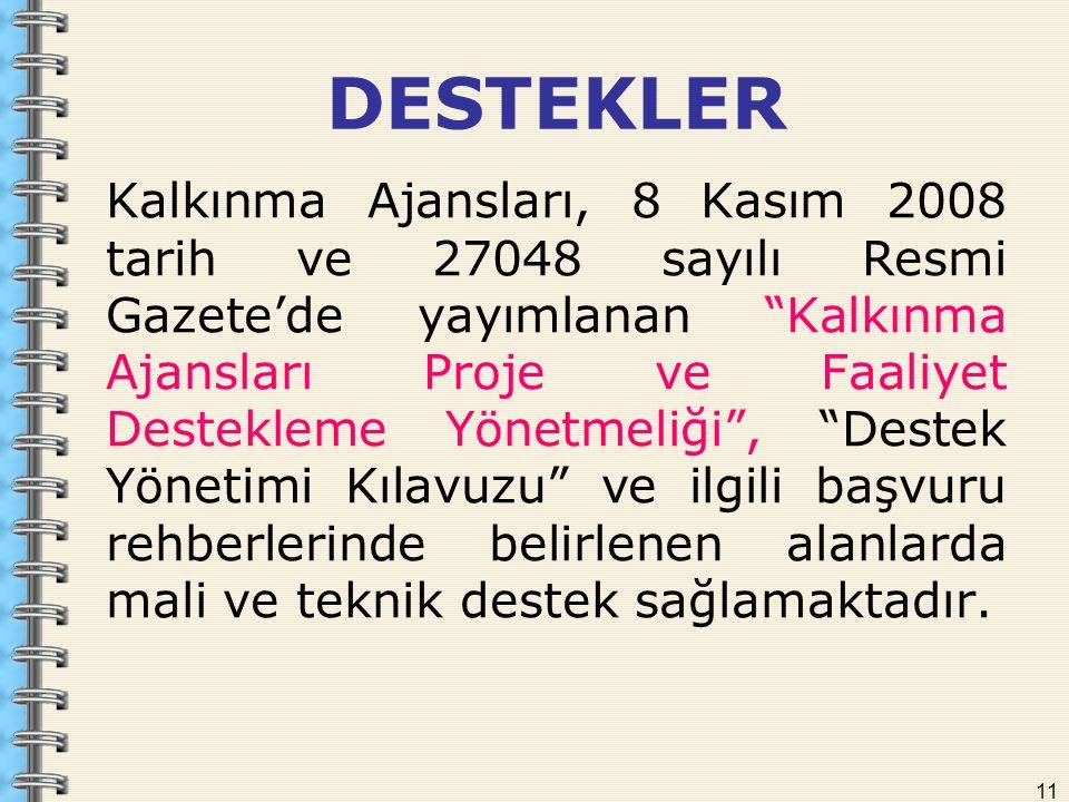"""11 Kalkınma Ajansları, 8 Kasım 2008 tarih ve 27048 sayılı Resmi Gazete'de yayımlanan """"Kalkınma Ajansları Proje ve Faaliyet Destekleme Yönetmeliği"""", """"D"""