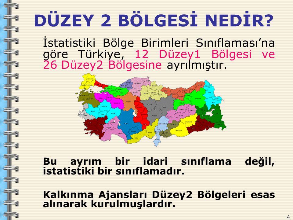 4 DÜZEY 2 BÖLGESİ NEDİR? İstatistiki Bölge Birimleri Sınıflaması'na göre Türkiye, 12 Düzey1 Bölgesi ve 26 Düzey2 Bölgesine ayrılmıştır. Bu ayrım bir i