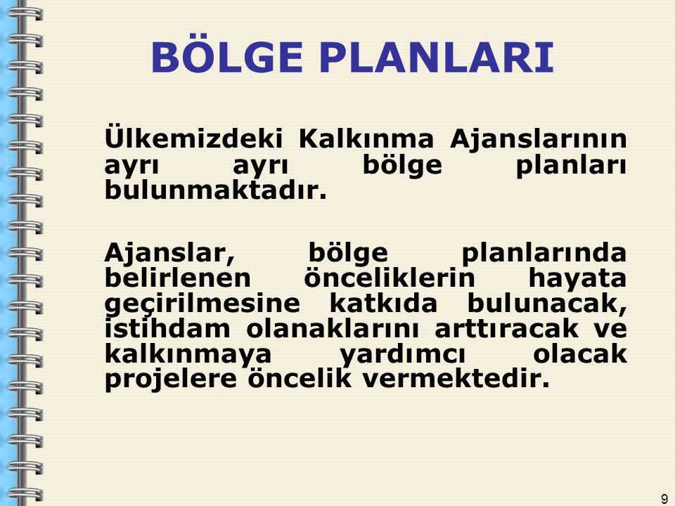 9 BÖLGE PLANLARI Ülkemizdeki Kalkınma Ajanslarının ayrı ayrı bölge planları bulunmaktadır. Ajanslar, bölge planlarında belirlenen önceliklerin hayata