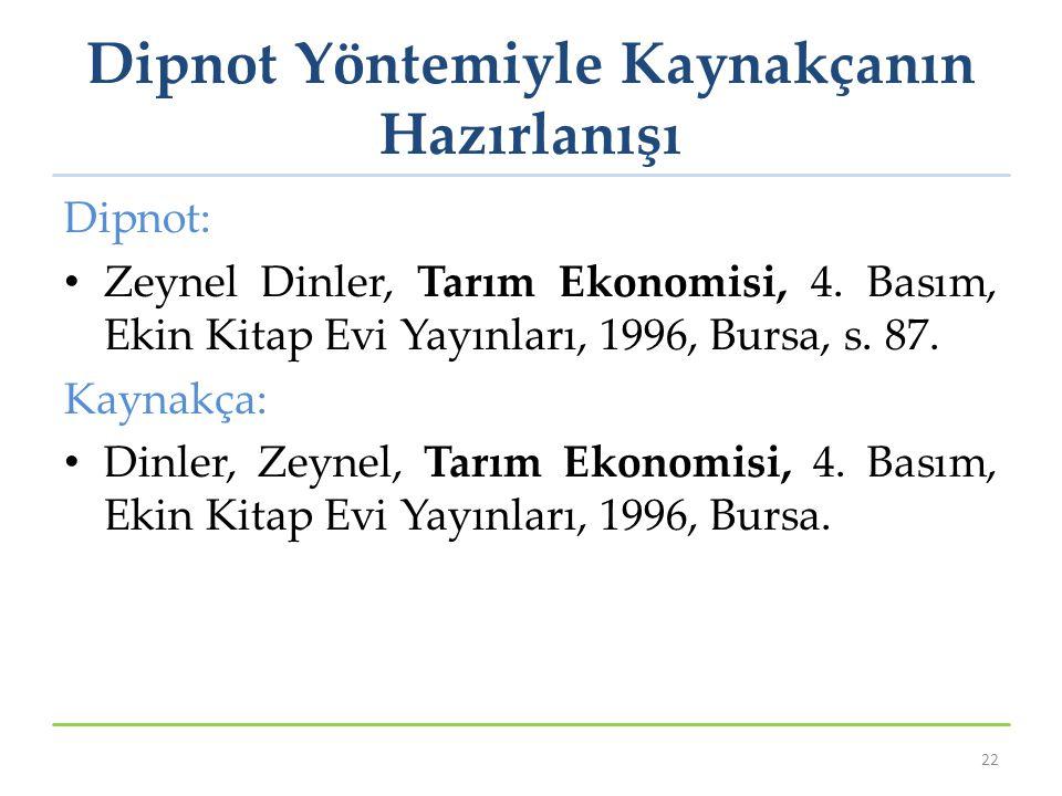 Dipnot Yöntemiyle Kaynakçanın Hazırlanışı Dipnot: Zeynel Dinler, Tarım Ekonomisi, 4. Basım, Ekin Kitap Evi Yayınları, 1996, Bursa, s. 87. Kaynakça: Di