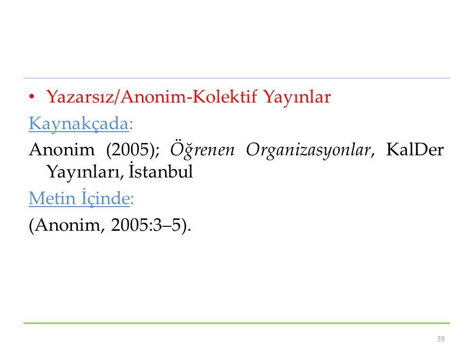 Yazarsız/Anonim-Kolektif Yayınlar Kaynakçada: Anonim (2005); Öğrenen Organizasyonlar, KalDer Yayınları, İstanbul Metin İçinde: (Anonim, 2005:3–5). 35