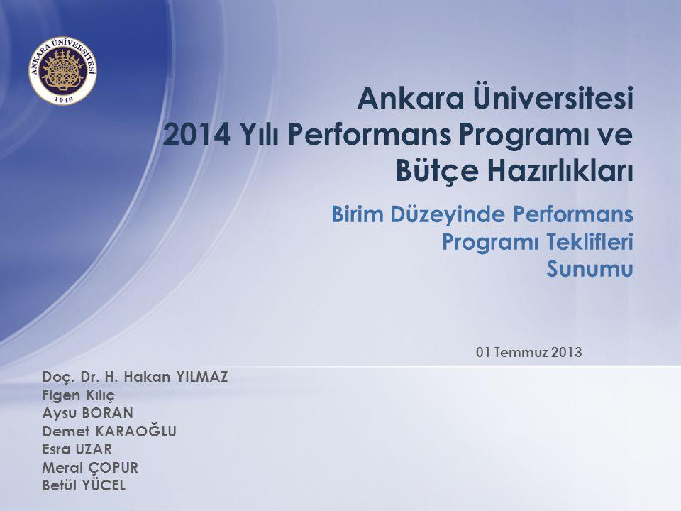 Ankara Üniversitesi 2014 Yılı Performans Programı ve Bütçe Hazırlıkları Birim Düzeyinde Performans Programı Teklifleri Sunumu Doç. Dr. H. Hakan YILMAZ