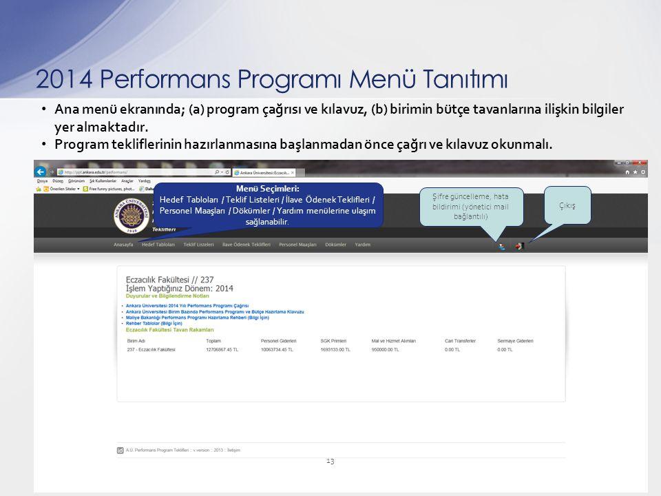 Ana menü ekranında; (a) program çağrısı ve kılavuz, (b) birimin bütçe tavanlarına ilişkin bilgiler yer almaktadır. Program tekliflerinin hazırlanmasın