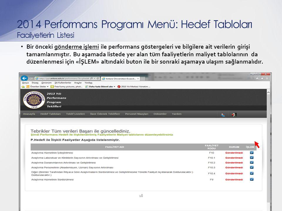 Bir önceki gönderme işlemi ile performans göstergeleri ve bilgilere ait verilerin girişi tamamlanmıştır. Bu aşamada listede yer alan tüm faaliyetlerin