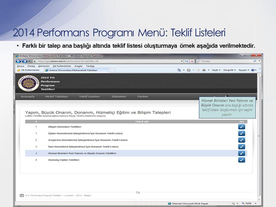 Farklı bir talep ana başlığı altında teklif listesi oluşturmaya örnek aşağıda verilmektedir. 24 2014 Performans Programı Menü: Teklif Listeleri Hizmet