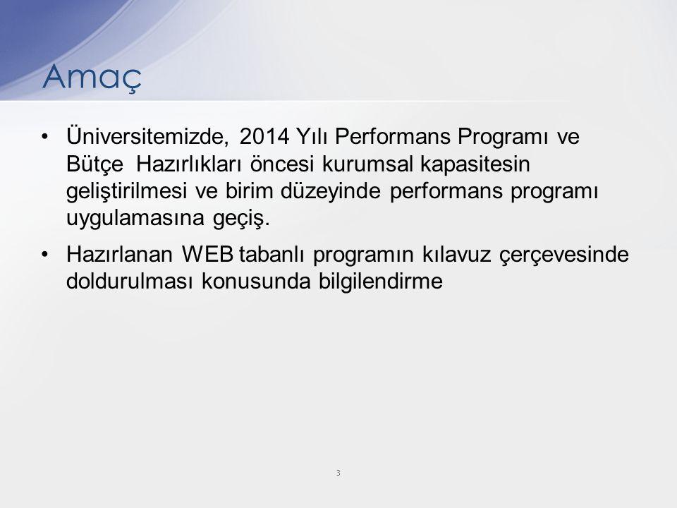 Üniversitemizde, 2014 Yılı Performans Programı ve Bütçe Hazırlıkları öncesi kurumsal kapasitesin geliştirilmesi ve birim düzeyinde performans programı uygulamasına geçiş.