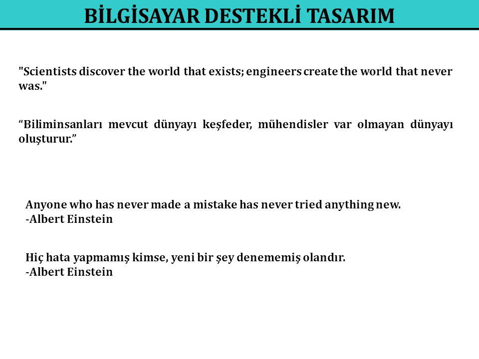 Scientists discover the world that exists; engineers create the world that never was. Biliminsanları mevcut dünyayı keşfeder, mühendisler var olmayan dünyayı oluşturur. Anyone who has never made a mistake has never tried anything new.