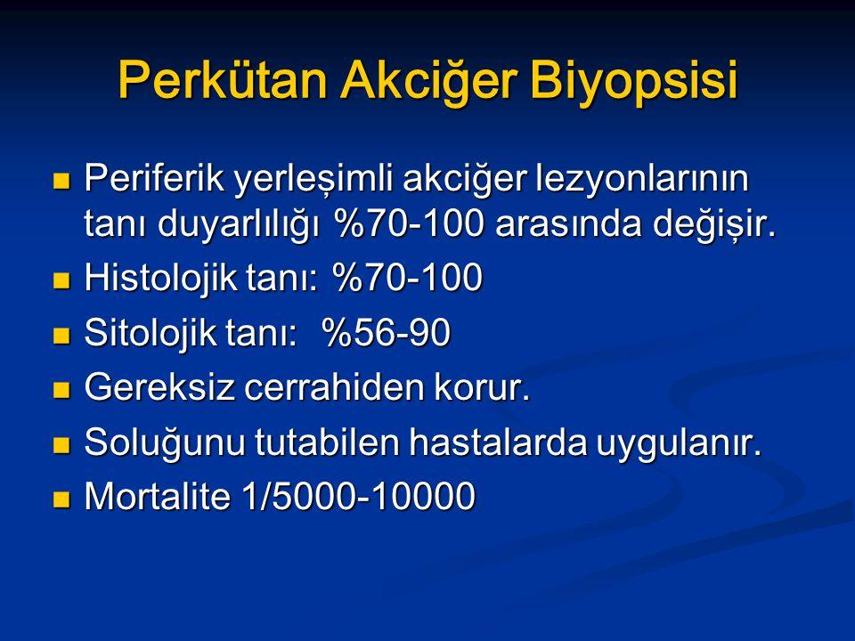 Perkütan Akciğer Biyopsisi Periferik yerleşimli akciğer lezyonlarının tanı duyarlılığı %70-100 arasında değişir.