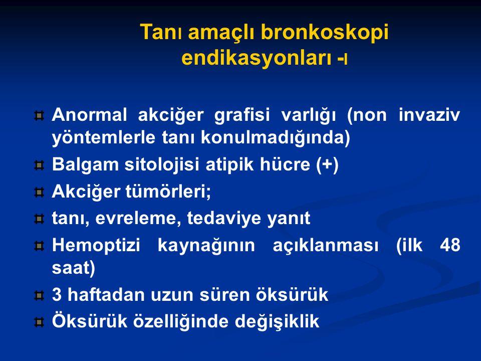 Tan ı amaçlı bronkoskopi endikasyonları - I Anormal akciğer grafisi varlığı (non invaziv yöntemlerle tanı konulmadığında) Balgam sitolojisi atipik hücre (+) Akciğer tümörleri; tanı, evreleme, tedaviye yanıt Hemoptizi kaynağının açıklanması (ilk 48 saat) 3 haftadan uzun süren öksürük Öksürük özelliğinde değişiklik