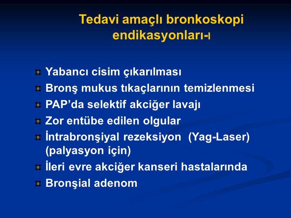 Tedavi amaçlı bronkoskopi endikasyonları- I Yabancı cisim çıkarılması Bronş mukus tıkaçlarının temizlenmesi PAP'da selektif akciğer lavajı Zor entübe edilen olgular İntrabronşiyal rezeksiyon (Yag-Laser) (palyasyon için) İleri evre akciğer kanseri hastalarında Bronşial adenom