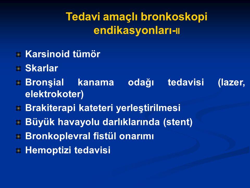 Karsinoid tümör Skarlar Bronşial kanama odağı tedavisi (lazer, elektrokoter) Brakiterapi kateteri yerleştirilmesi Büyük havayolu darlıklarında (stent) Bronkoplevral fistül onarımı Hemoptizi tedavisi Tedavi amaçlı bronkoskopi endikasyonları- II